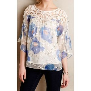 [Anthropologie] Floral Lace Sheer Florafall Blouse